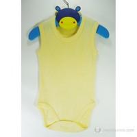Sema Baby Jakarlı Askılı Badi (Body) Sarı