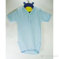 Sema Baby Jakarlı Yarım Kol Badi (Body) Mavi