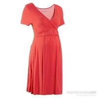 bonprix Kırmızı Hamile Giyim 1/2 Kollu Streç Elbise 34-54 Beden