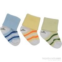 Babyjem 3'Lü Çemberli Bebe Çorap Erkek - Sarı/Mavi/Yeşil