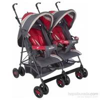 Beneto Twin Baston İkiz Bebek Arabası Füme Kırmızı