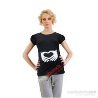 Elija Hamile Kalp El T-Shirt Kısa Kol / Siyah