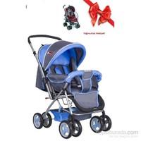 Bordo Lüks 770-Gm Çift Yönlü Bebek Arabası / Mavi