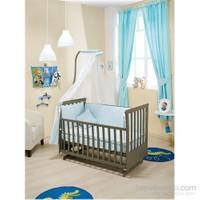 Bebedecor Sallanır Karyola Antrasit Mobilya / Baloncuk Mavi Tekstil