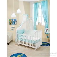Bebedecor Sallanır Karyola Beyaz Mobilya Sevimli Dostlar / Mavi Tekstil