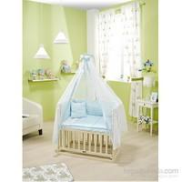 Bebedecor Anne Yanı Beşik Krem Mobilya / Baloncuk Mavi Tekstil