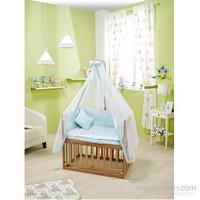 Bebedecor Anne Yanı Beşik Naturel Mobilya / Baloncuk Mavi Tekstil