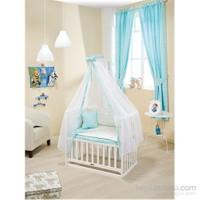 Bebedecor Anne Yanı Beşik Beyaz Mobilya Sevimli Dostlar / Mavi Tekstil