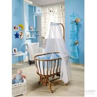 Bebedecor Ege Beşik Ceviz Mobilya / Mavi Tekstil