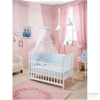 Bebedecor Gediz Karyola Beyaz Mobilya / Baloncuk Mavi Tekstil