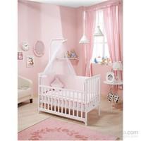 Bebedecor Gediz Karyola Beyaz Mobilya / Baloncuk Pembe Tekstil