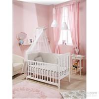 Bebedecor Gediz Karyola Beyaz Mobilya / Baloncuk Gri Tekstil
