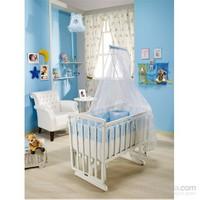 Bebedecor Angel Beşik Beyaz Mobilya / Mavi Tekstil