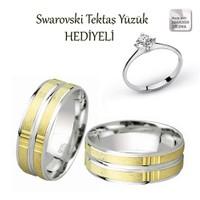 Ejoya Gümüş Çift Alyans C1011 - Zirkon Tektaş Yüzük Hediye !