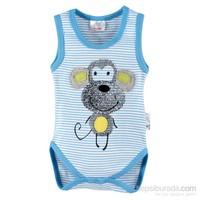 Luggi Baby Maymun Mavi Çizgili Altlet Body