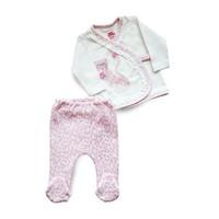 Baby Corner 2'Li Zıbın Hırkalı Set Çita Ekru Pembe