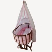Baby Tech 111 Saraylı Ahşap Bebek Beşiği Ceviz-Pembe