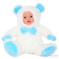 Furkan Bebek Yüzlü Peluş Beyaz Mavi
