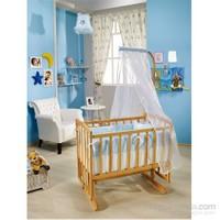 Bebedecor Angel Beşik Naturel Mobilya / Mavi Tekstil