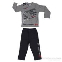 Roly Poly 2505 İnterlok Erkek Çocuk Pijama Takımı Gri 1 Yaş (86 Cm)