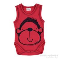 Mother Love Kırmızı Maymun Düz Nakışlı Atlet Body - Kırmızı