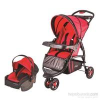 Johnson Lotus Çift Yönlü Jogger Seyahat Sistem Bebek Arabası / Kırmızı - Siyah