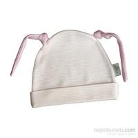 Minou Organik Kulaklı Şapka Pembe Çizgili