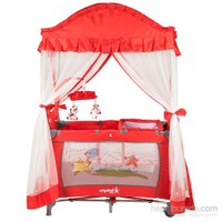 Crystal Baby 407 Cenova Kurdelalı Park Yatak 70X110 Cm Kırmızı