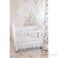 Bebekonfor Easylife Anne Yanı Beyaz Fransız Etekli Bebek Beşiği