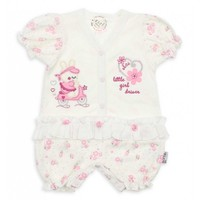 Modakids Kız Bebek Kısa Kol Fırfırlı Tulum 019 - 439 - 028