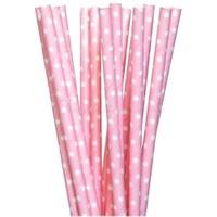 Pandoli Pembe Renkli Beyaz Puanlı Pipet Kağıt 25 Adet