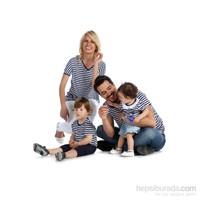 Pamuku Marine Aile Tshirt Seti Erkek-Large Beyaz-Lacivert