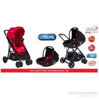 Casual Solo Comfort Seyahat Sistem Bebek Arabası / Kırmızı