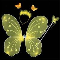 Pandoli Sarı Kelebek Kanat Set 40 Cm Kanat Asa Taç