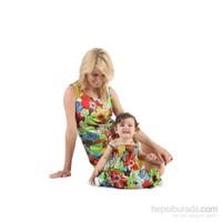 Pamuku Çiçekli Anne Çocuk Elbise Seti 12-18 Ay Kirmizi