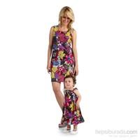 Pamuku Çiçekli Anne Çocuk Elbise Seti 12-18 Ay Pembe