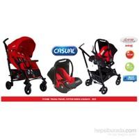 Casual Storm Trona Seyahat Sistem Bebek Arabası / Kırmızı