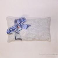Handan Bebek Altın Takı Yastığı Gümüş Simli Kurdelalı Dikdörtgen Mavi