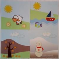 Desenli Keçeler Okul Öncesi Eğitim Kiti Mevsimleri Öğreniyorum