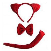 Pandoli Taç Papyon Kuyruk Kırmızı Kedi Kostüm Seti