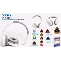 Snopy Sn-801Bl Beyaz Bluetooth Mikrofonlu Kulaklık