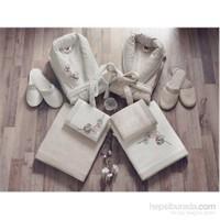Cotton Box Bambu Aile Bornoz Seti Nakışlı Ekru Taş
