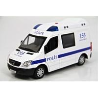 Vardem 1:32 Işıklı Sesli Metal Polis Arabası (Mercedes Benz Sprinter)