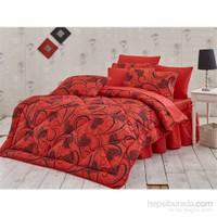 Kupon Çift Kişilik Uyku Seti-Jarden Kırmızı