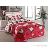 Eponj Home Kapitone Yatak Örtüsü Seti Çift Kişilik Lovestory Kırmızı