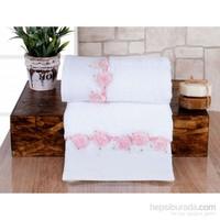 İrya Romantic Nakışlı Havlu Pembe 50x90