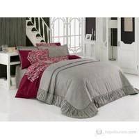 Cotton Box Çift Kişilik Saten Yatak Örtüsü Seti- Melek Bordo