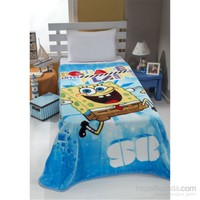 Mink Lisanslı Tek Kişilik Battaniye-Spongebob 08
