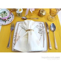 Clemensi Dekorluk Renkli Kumaş Peçete Beyaz