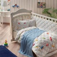 Taç Battaniyeli Baby Cars Kırmızı Bebek Uyku Seti